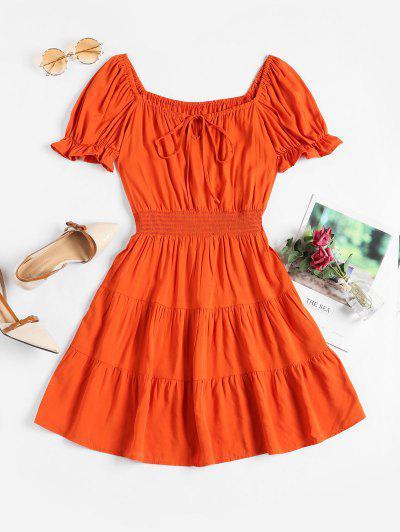 Smocked Waist Tie Collar Mini Milkmaid Dress - Orange M