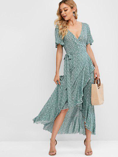 ZAFUL Ruffles Tiny Floral Asymmetric Wrap Dress - Light Green L