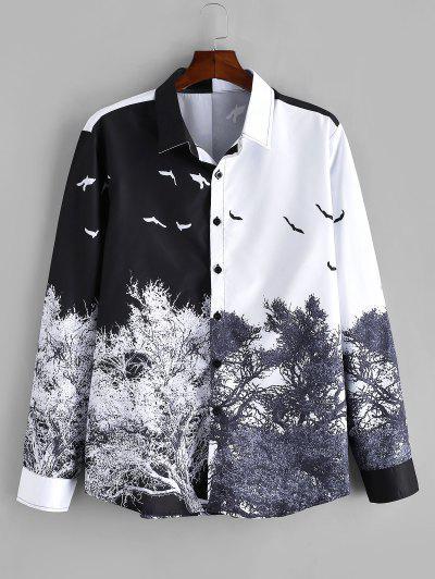 Chinese Style Tree Print Long Sleeve Shirt - Multi 2xl