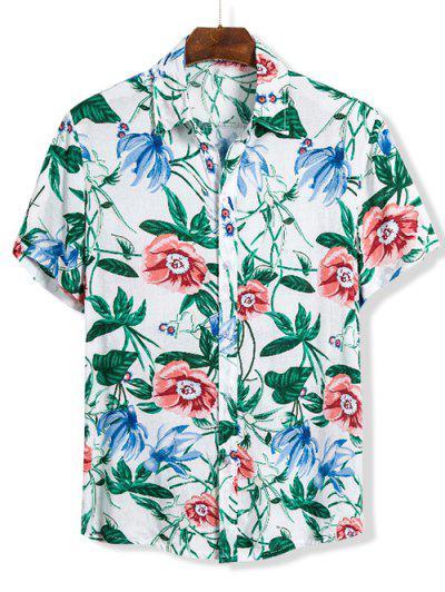 Floral Print Short Sleeve Hawaii Shirt - Multi 2xl