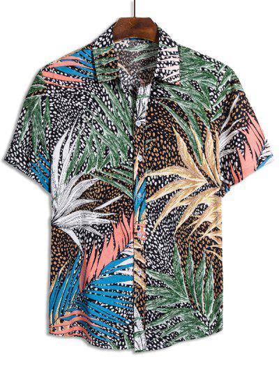 Camisa Hawaii Con Botones De Estampado De Hojas De Leopardo - Multicolor 2xl