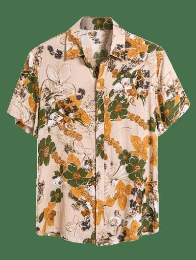 Floral Print Short Sleeve Button Up Shirt