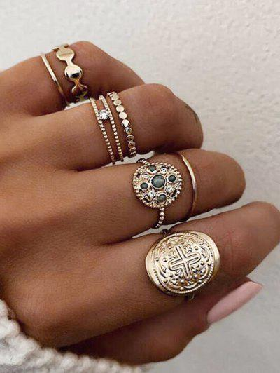 7 Piece Rhinestone Round Finger Rings Set - Gold