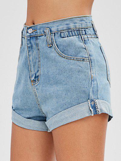 High Waisted Denim Cuffed Shorts - Denim Blue Xl