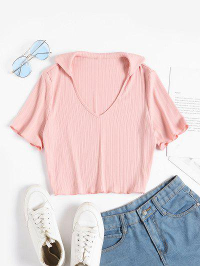 ZAFUL V Neck Ribbed Cropped Tee - Pink Rose S
