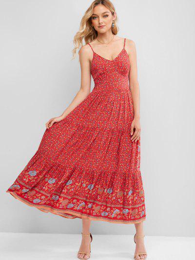 ZAFUL Cami Ditsy Floral Tie Back Maxi Dress - Multi-a M