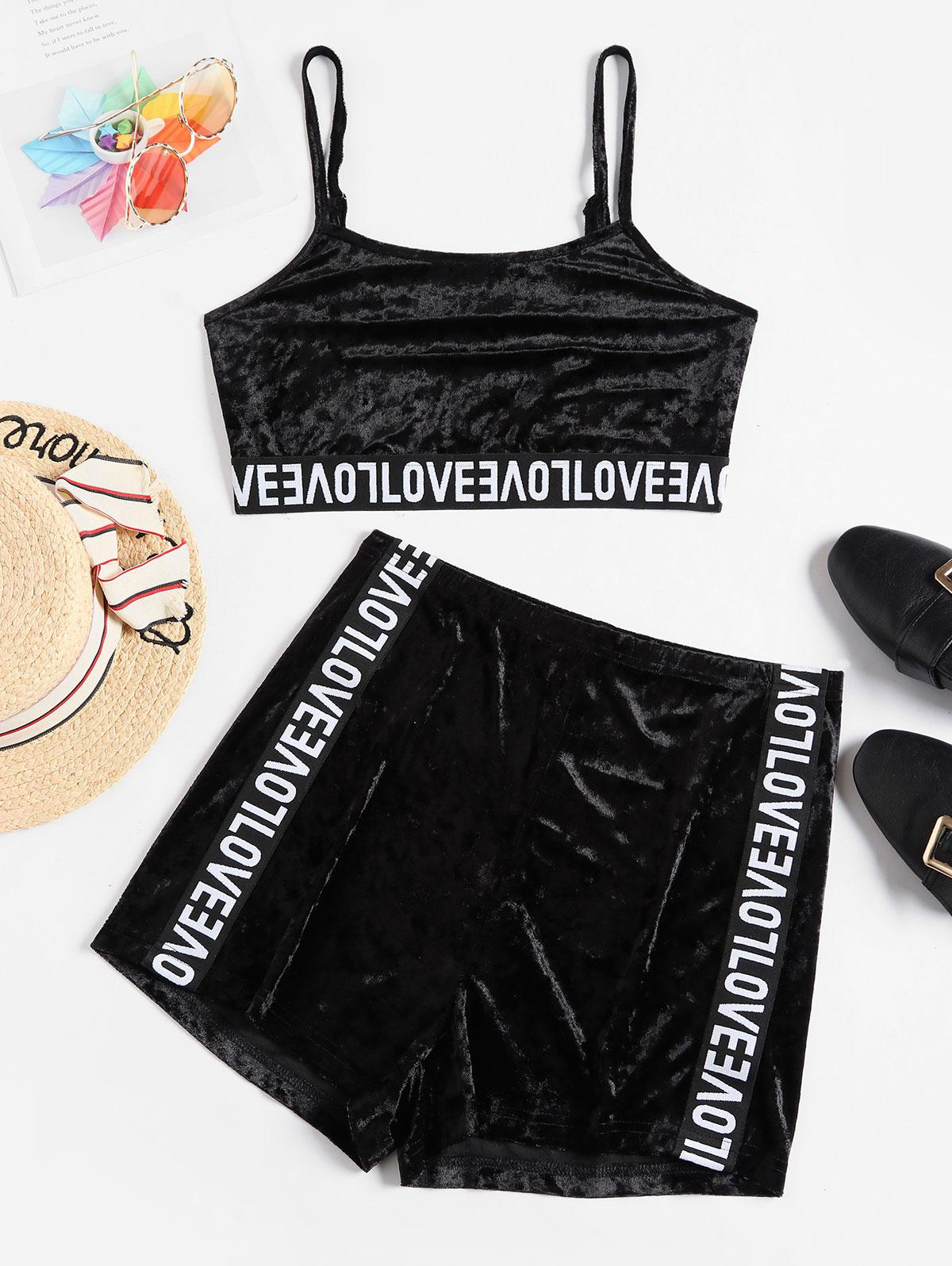 ZAFUL Cropped Letter Graphic Tape Velvet Two Piece Set