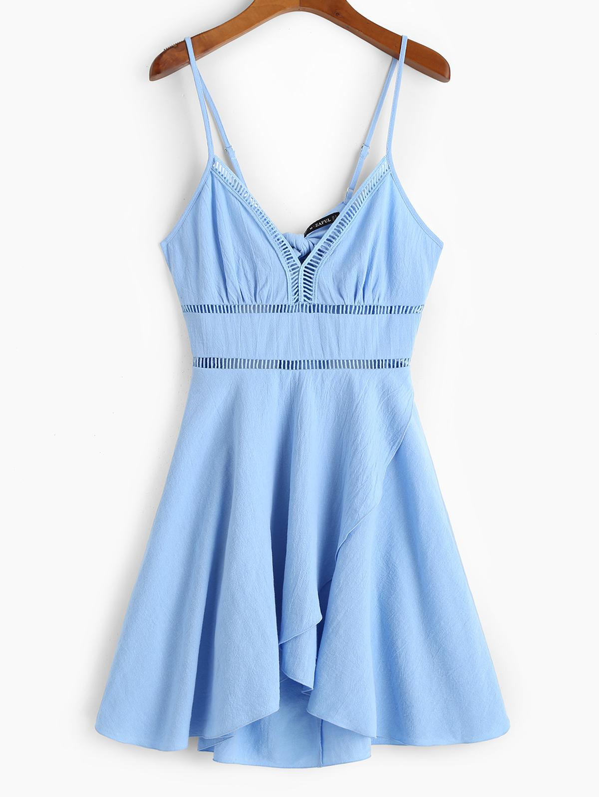 ZAFUL Crochet Panel Tulip Hem Cami Dress