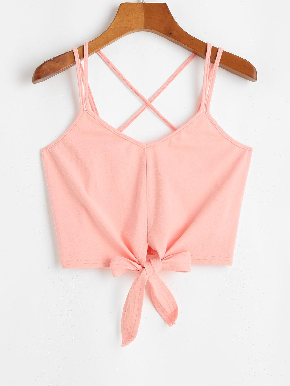 ZAFUL Knotted Crop Cami Top