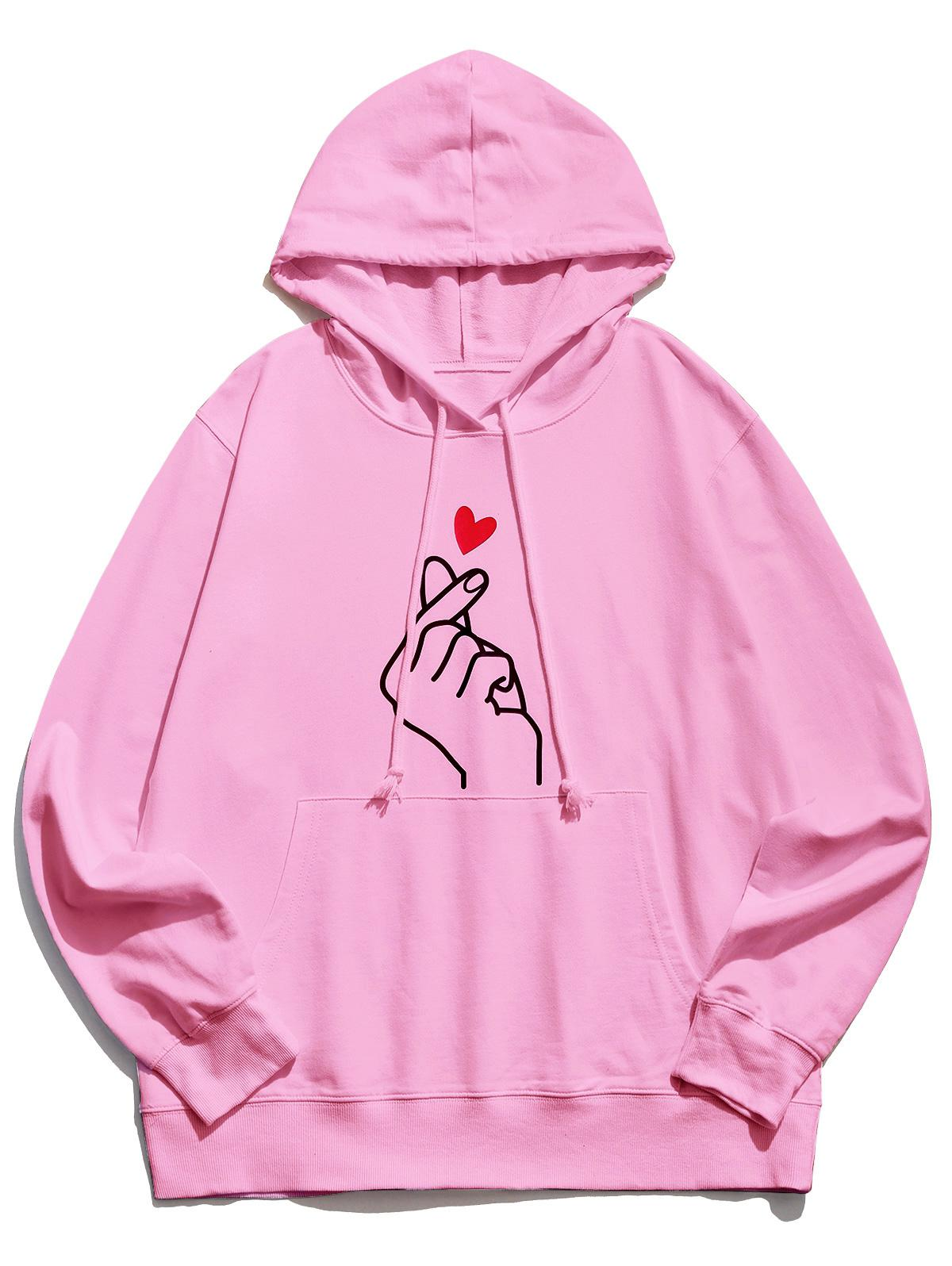 Finger Heart Graphic Pouch Pocket Casual Hoodie фото