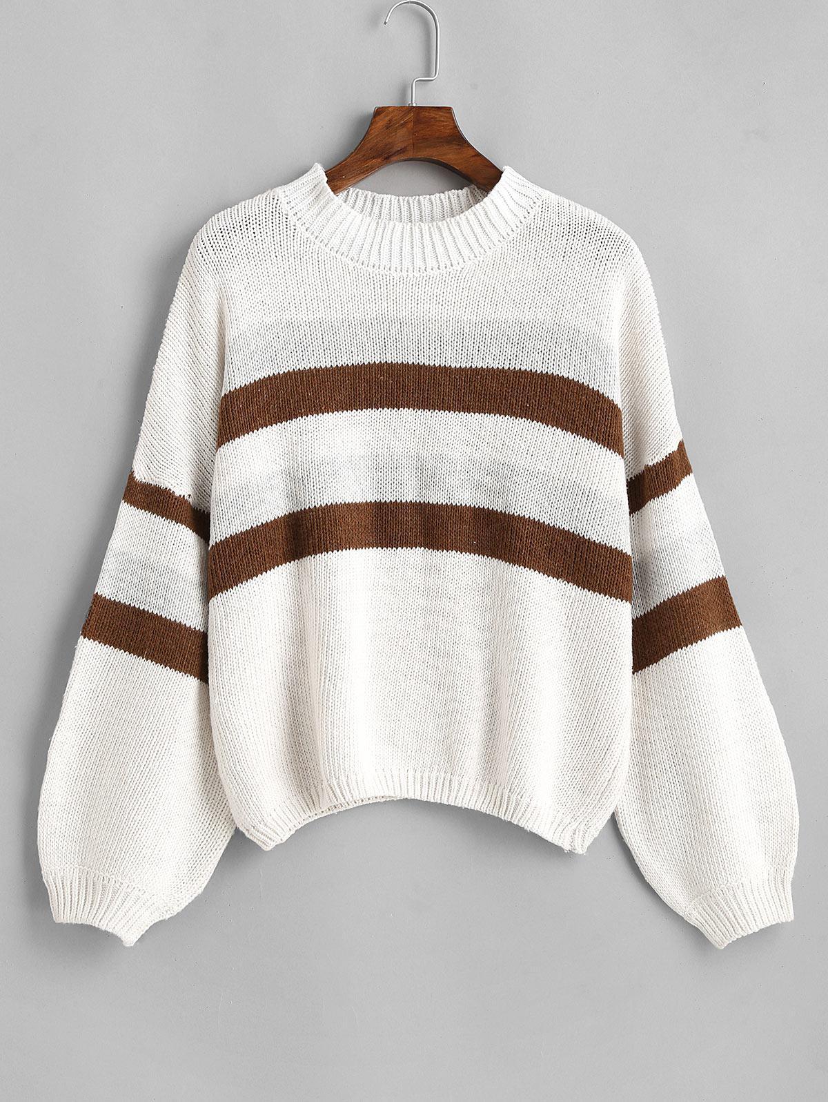 Lantern Sleeve Stripes Pullover Sweater
