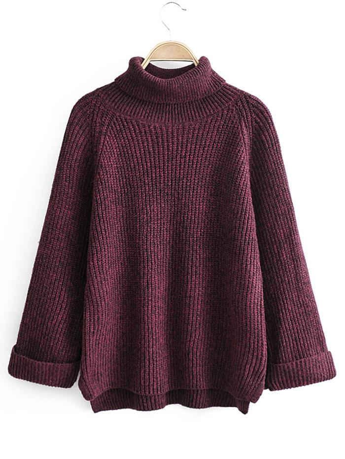 Turtleneck Side Slit High Low Sweater thumbnail