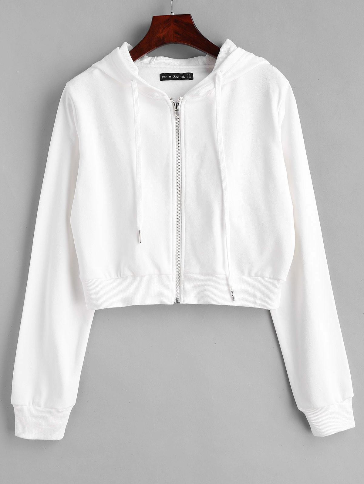 ZAFUL Drawstring Zip Up Cropped Hoodie