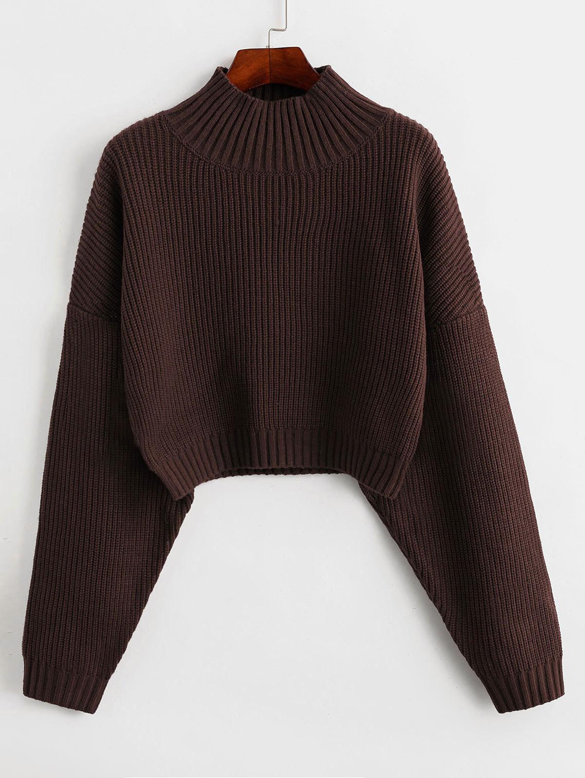 ZAFUL Drop Shoulder Mock Neck Plain Sweater
