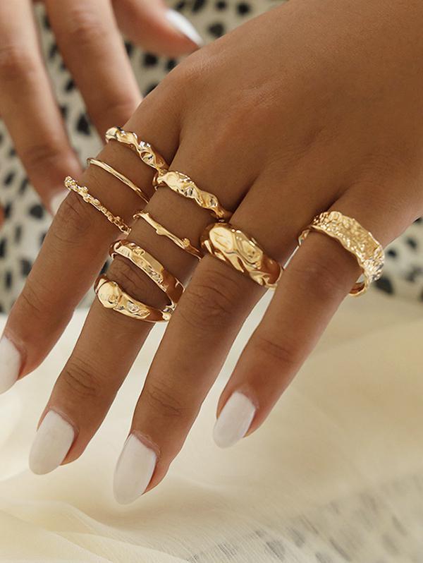 9 Piece Simple Style Crinkle Metal Finger Rings Set
