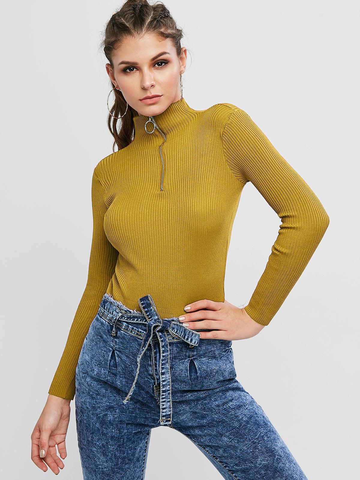 Mock Neck Ribbed Half Zip Sweater