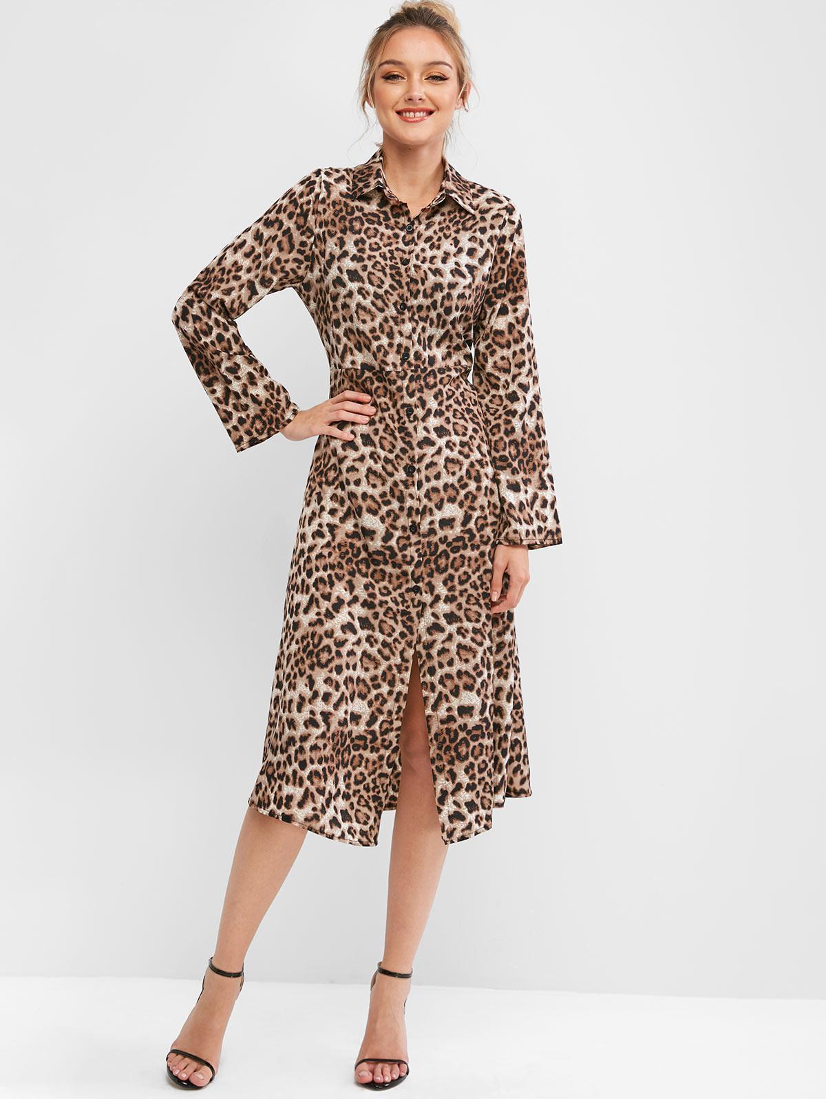 Leopard Long Sleeve Midi Shirt Dress фото