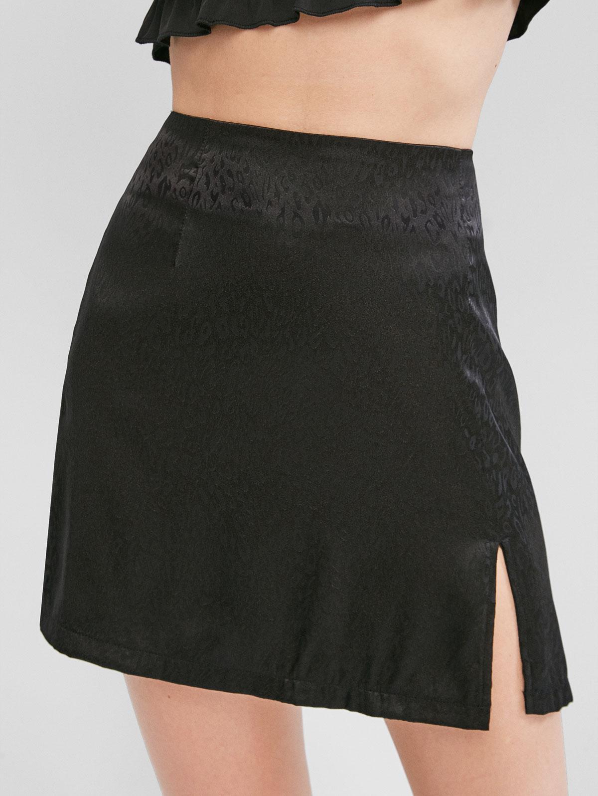 ZAFUL Jacquard Slit Mini Skirt фото