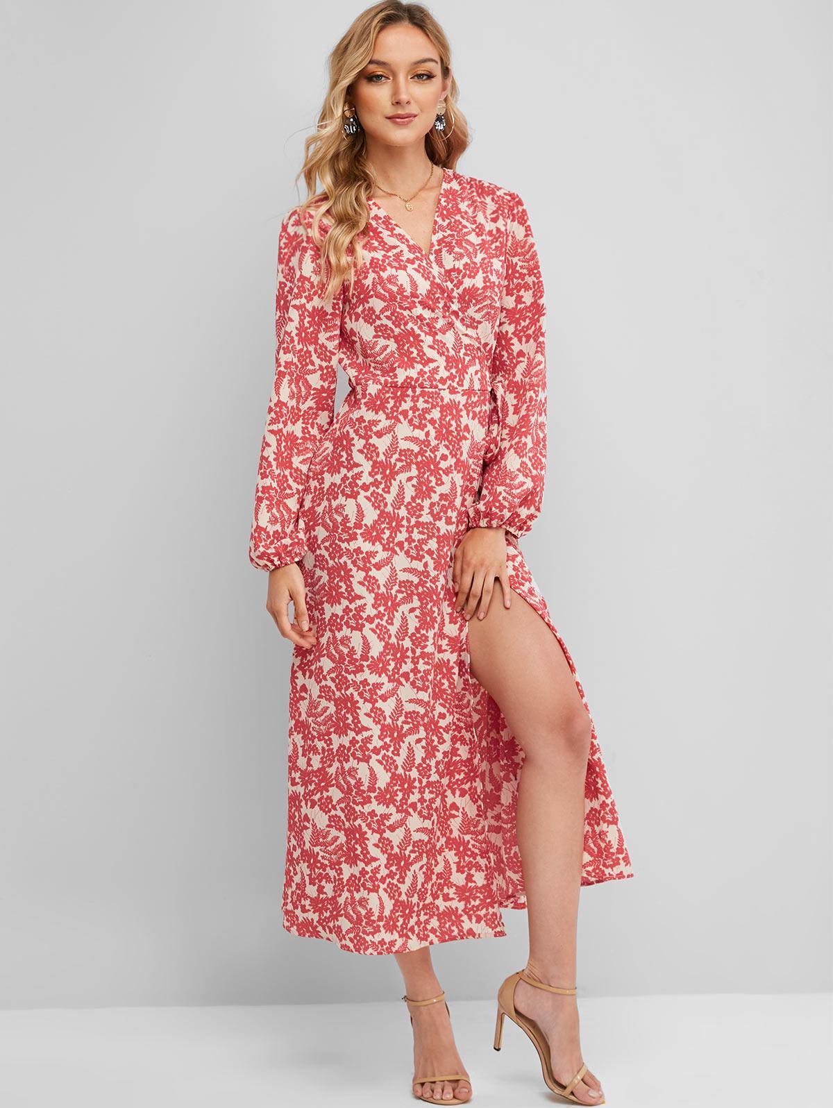 Long Sleeve Floral Wrap Maxi Dress фото
