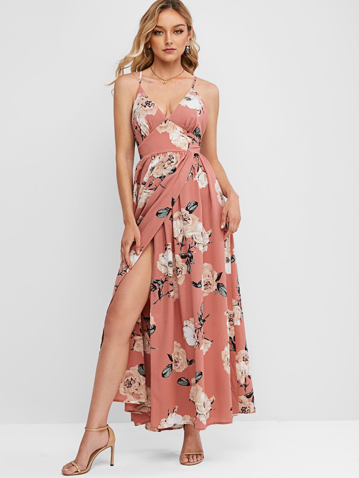 ZAFUL Flower Criss Cross Slit Empire Waist Dress