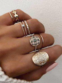 7 قطعة جولة حجر الراين خواتم الاصبع مجموعة - ذهب