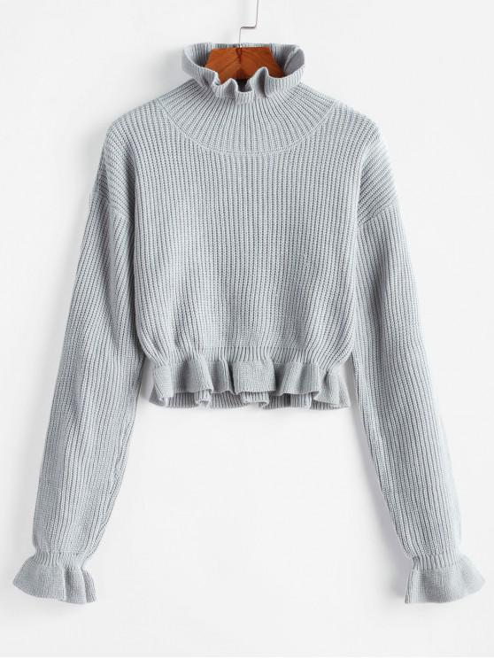 ladies Solid Ruffled Pullover Sweater - PLATINUM S