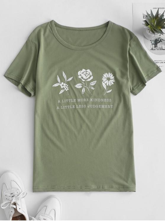 unique Flower Slogan Graphic Short Sleeve Tee - LIGHT GREEN 2XL