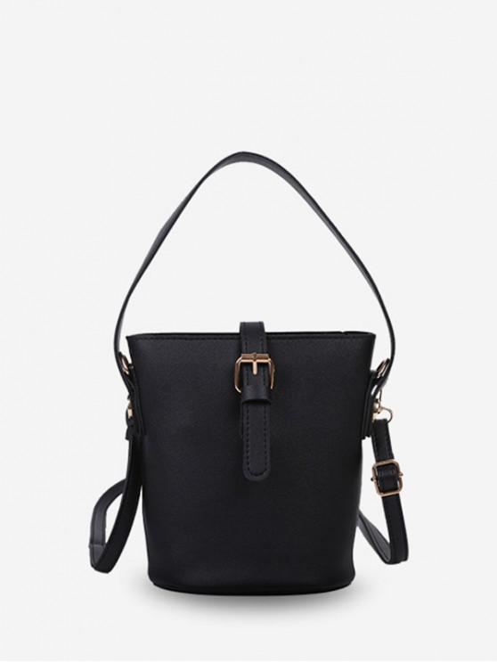 chic Belt Accent Leather Bucket Tote Bag - BLACK