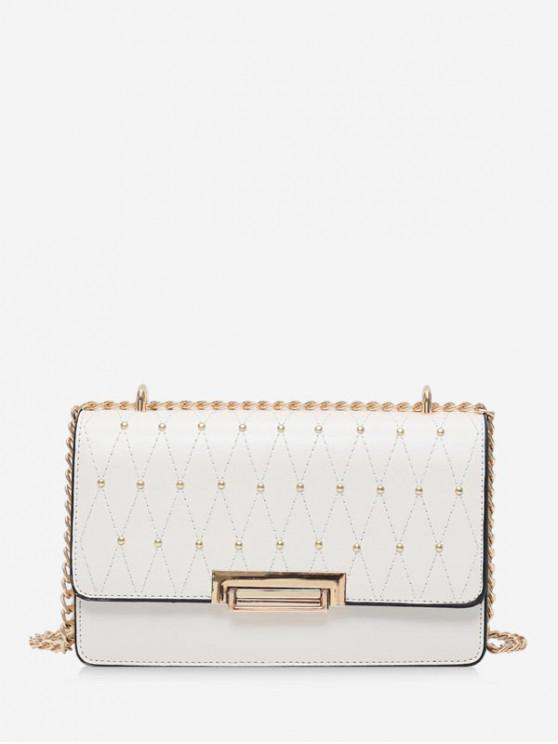 chic PU Studs Chain Square Crossbody Bag - WARM WHITE
