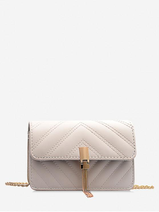 online Chain Tassel Quilted Mini Shoulder Bag - WHITE