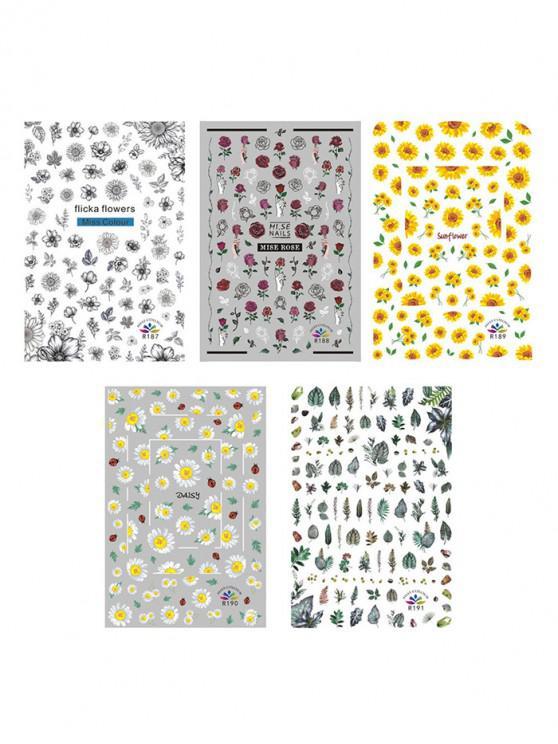 ملصقات الأظافر زهرة النبات - متعددة-A