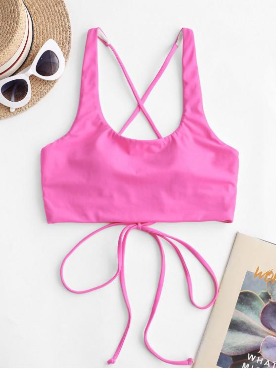 hot ZAFUL Cross Back U Neck Crop Bikini Top - HOT PINK XL