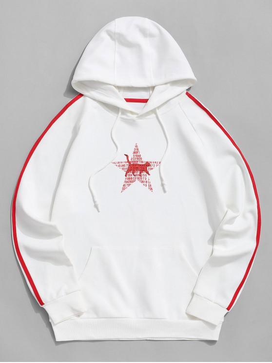 shops Contrast Striped Letter Animal Star Raglan Sleeve Hoodie - WHITE XL