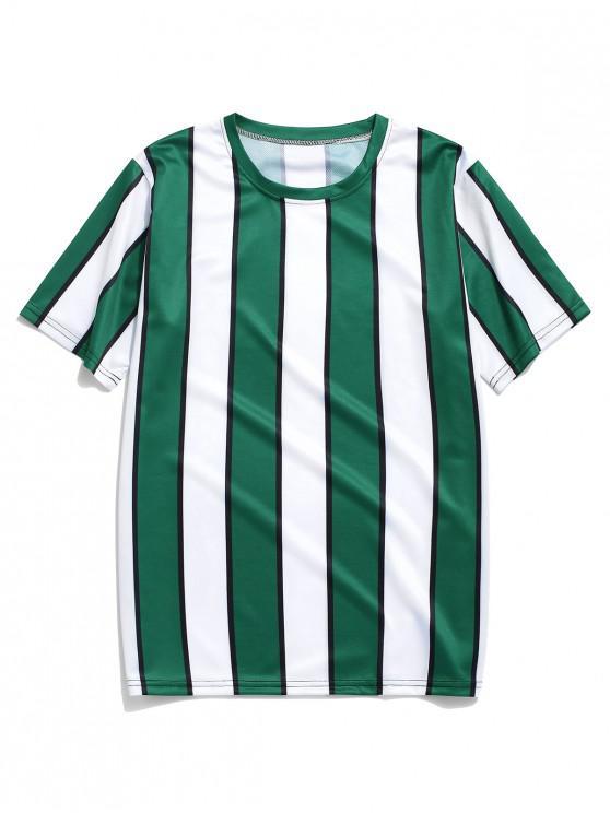 trendy Color Block Striped Print T-shirt - DEEP GREEN 2XL