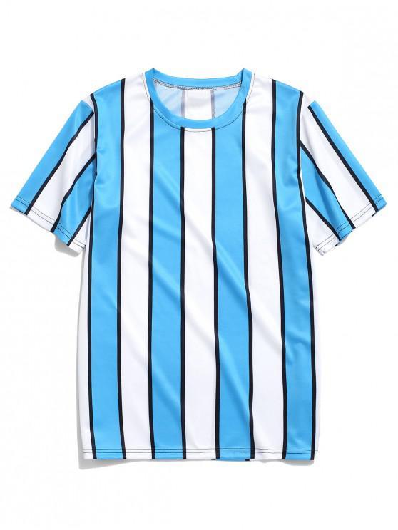 affordable Color Block Striped Print T-shirt - BLUE 2XL