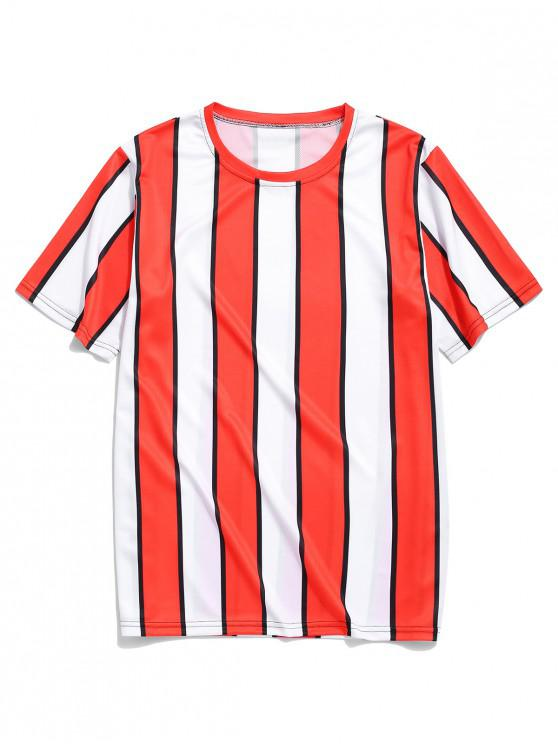 lady Color Block Striped Print T-shirt - RED 2XL