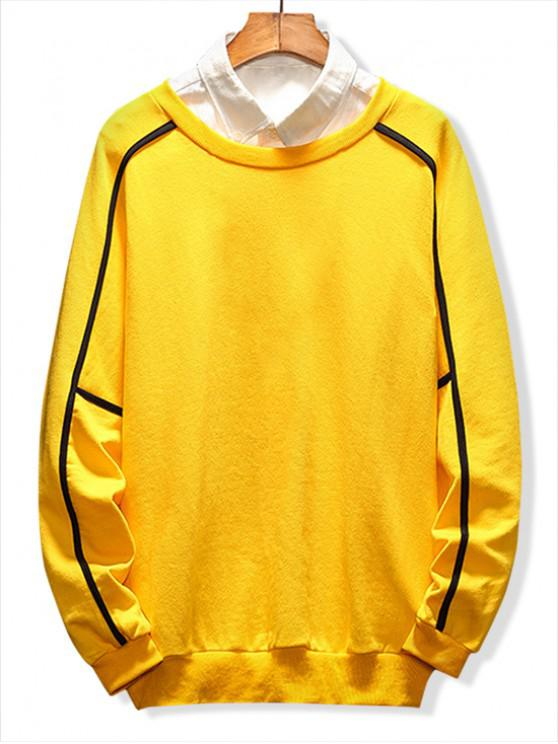 buy Raglan Sleeve Piping Lounge Sweatshirt - YELLOW 2XL