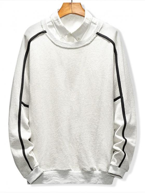 trendy Raglan Sleeve Piping Lounge Sweatshirt - LIGHT GRAY 2XL