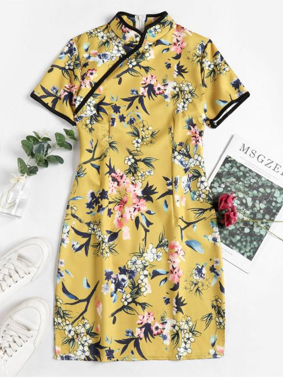 lady Floral Oriental Cheongsam Dress - MULTI-A S