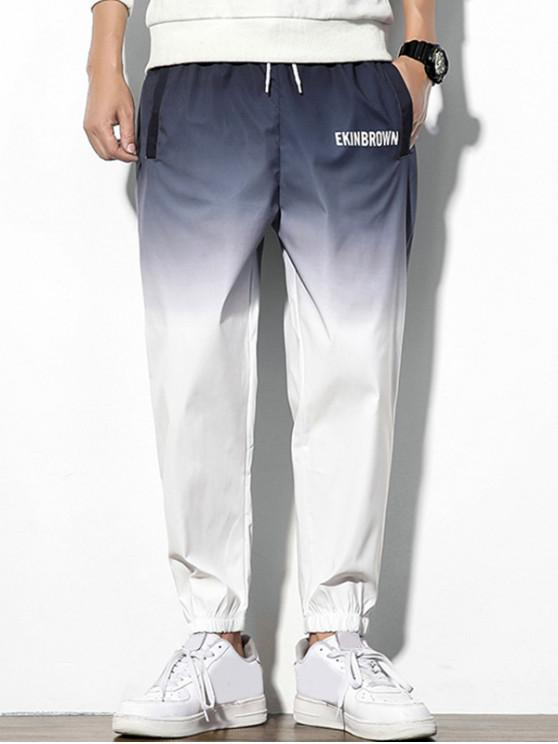 Pantaloni Casuali Stampati a Lettere Colorate - Grigio Getto 3XL
