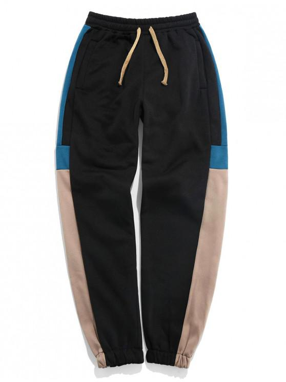 Color blocking elastico in vita Jogger Pants - marrone  3XL