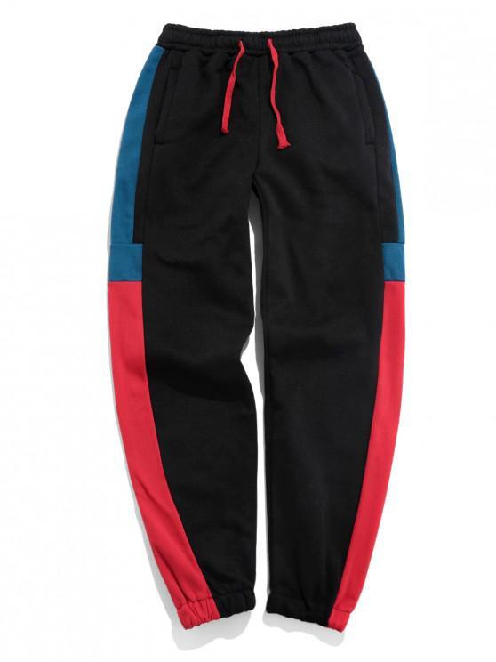 ladies Color Blocking Elastic Waist Jogger Pants - LAVA RED 3XL