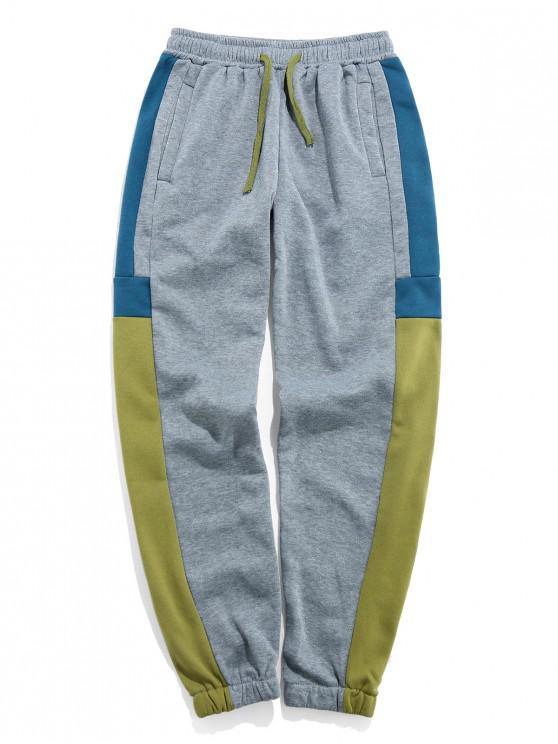 hot Color Blocking Elastic Waist Jogger Pants - AVOCADO GREEN 3XL