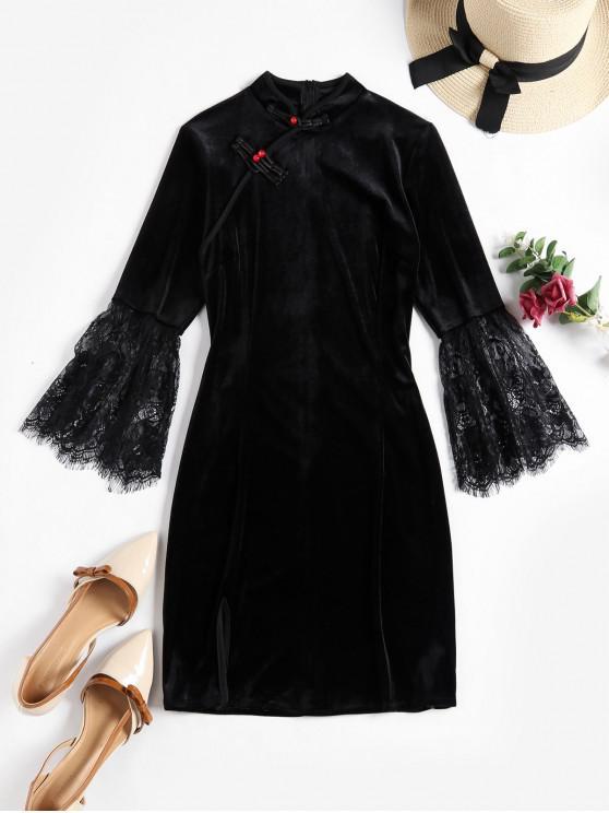 蕾絲袖口東方絲絨旗袍 - 黑色 M
