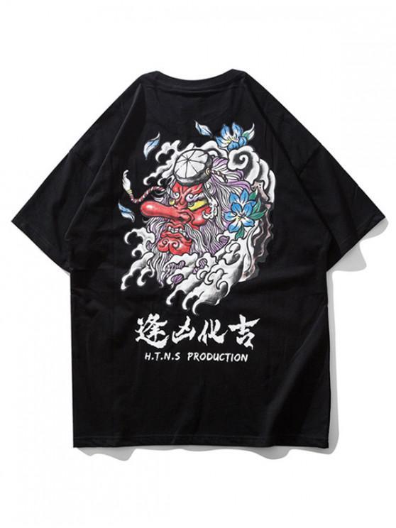 ladies Devil Oriental Letter Print Short Sleeve T-shirt - BLACK XL