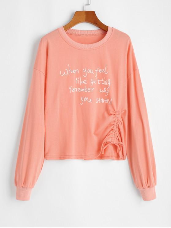sale Cinched Slogan Graphic Pullover Sweatshirt - LIGHT SALMON M