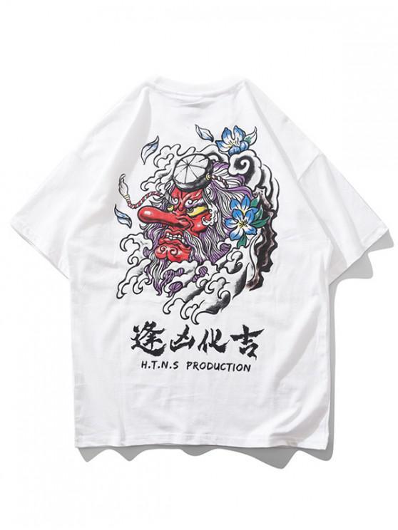 womens Devil Oriental Letter Print Short Sleeve T-shirt - WHITE M