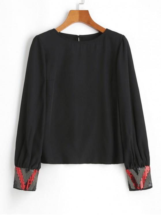 unique Chiffon Metallic Sparkly Sequined Blouse - BLACK L