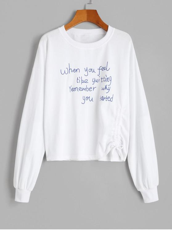 shop Cinched Slogan Graphic Pullover Sweatshirt - WHITE XL