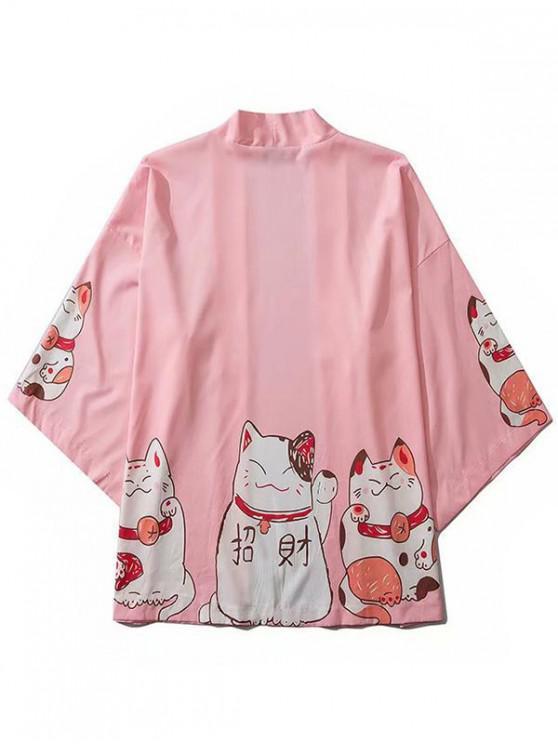 Cárdigan Kimono con Hombro Caído y Estampado de Gato - Rosado XL